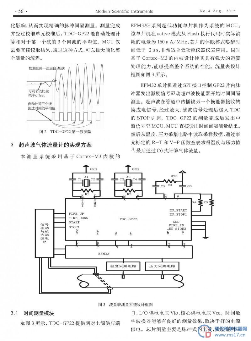 基于tdc-gp22 的超声波气体流量计设计